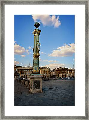 Street Lamps - Place De La Concorde Framed Print by Maria Angelica Maira