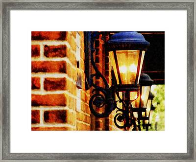 Street Lamps In Olde Town Framed Print by Michelle Calkins