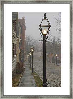 Street Lamps On Johnny Cake Hill Framed Print by Paul and Janice Russell