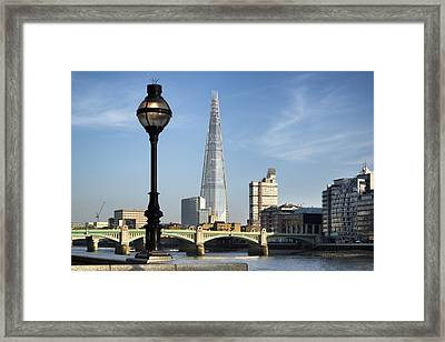 Street Light And Shard Framed Print by Matthew Gibson