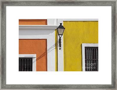 Framed Print featuring the photograph Street Light In Old San Juan Streetlight Puerto Rico by Bryan Mullennix