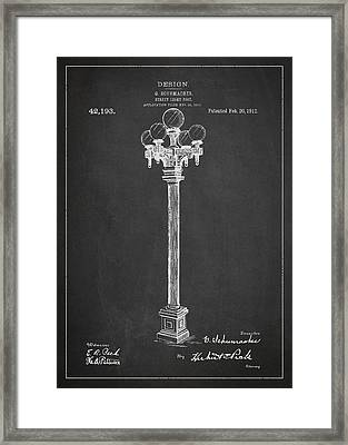 Street Light Post Patent Drawing From 1904 Framed Print by Aged Pixel