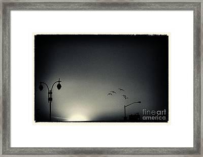 Street Lights Battery Park New York City Framed Print