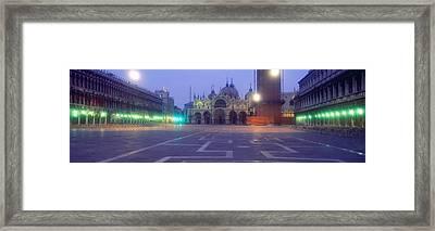 Street Lights Lit Up In Front Framed Print