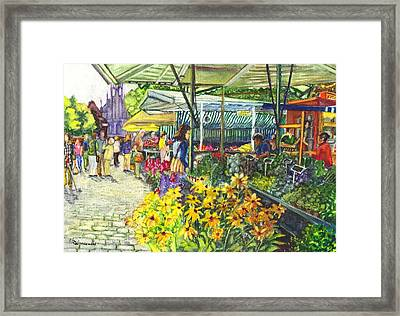 Watercolor Munster Germany Street Market  Framed Print by Carol Wisniewski