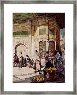 Street Merchant In Istanbul Framed Print by Hippolyte Berteaux