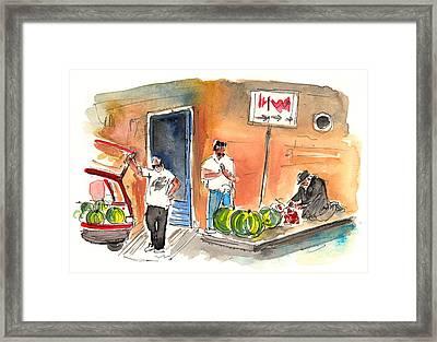 Street Merchants In Siracusa Framed Print