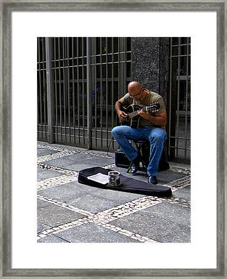 Street Musician - Sao Paulo Framed Print by Julie Niemela