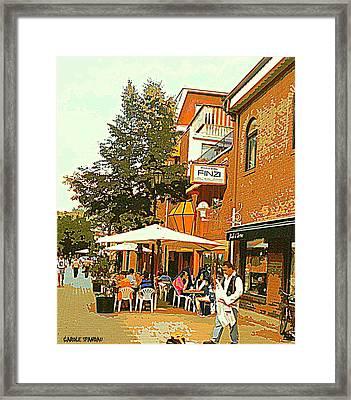 Street Musician Serenades The Terrace Umbrella Crowd At Ristorante Finzi Italienne Cafe Scene Framed Print by Carole Spandau