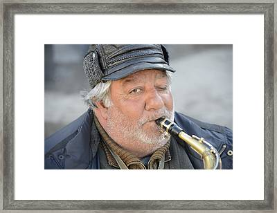 Framed Print featuring the photograph Street Musician - The Gypsy Saxophonist 1 by Teo SITCHET-KANDA