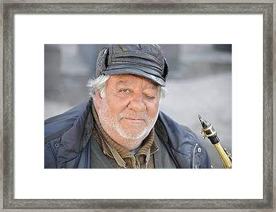 Framed Print featuring the photograph Street Musician - The Gypsy Saxophonist 2 by Teo SITCHET-KANDA