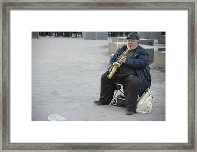 Framed Print featuring the photograph Street Musician - The Gypsy Saxophonist 3 by Teo SITCHET-KANDA