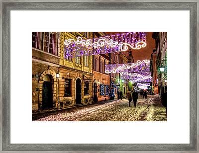 Street Of Lights Framed Print by Nathalie Hope