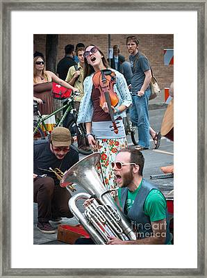 Street Performers In Austin Texas Framed Print by Sonja Quintero