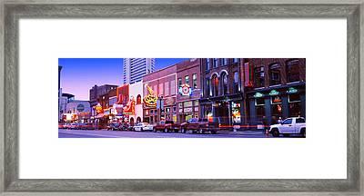 Street Scene At Dusk, Nashville Framed Print by Panoramic Images