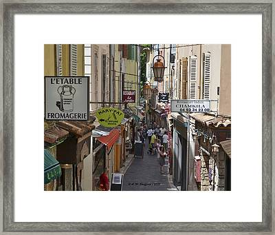 Framed Print featuring the photograph Street Scene In Antibes by Allen Sheffield
