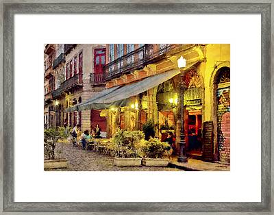 Street Scene In Yellow Framed Print