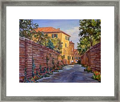 Street Scene Sienna Tuscany Framed Print by Robert Gerdes