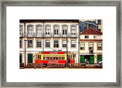 Street Scene With Red Tram - Oporto Framed Print by Mary Machare
