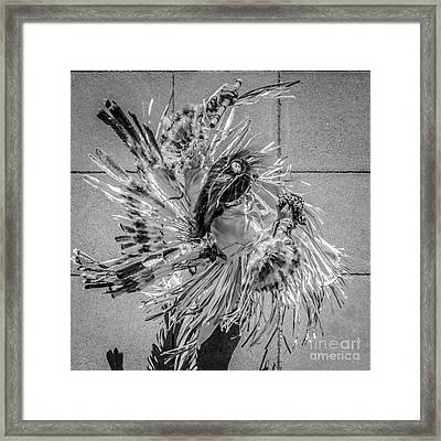 Street Shadow Dancer 1 - Black And White - Square Crop Framed Print by Ian Monk