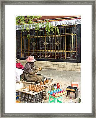 Street Shopkeeper In Lhasa-tibet Framed Print by Ruth Hager