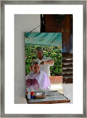 Street Side Barber Cuts Client Hair Singapore Framed Print by Imran Ahmed