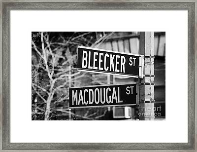 street signs at junction of Bleeker st and Macdougal street greenwich village new york city Framed Print by Joe Fox