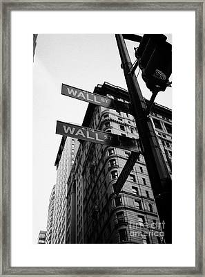 Street Signs At The Junction Of Wall Street And Broadway New York City Framed Print by Joe Fox