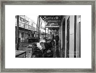 Street Sweeper On Bourbon Street Mono Framed Print by John Rizzuto
