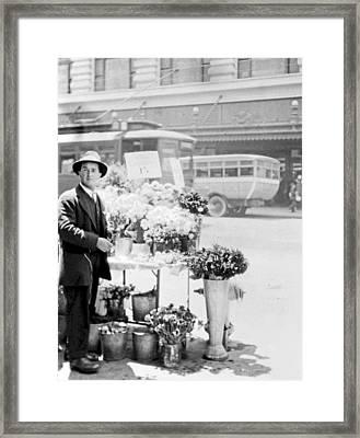 Street Vendor Flower Stand San Francisco 1916 Framed Print by A Gurmankin