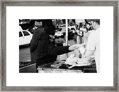 Street Vendor Selling And Handing Over Hot Dogs New York City Framed Print