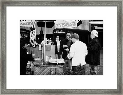 Street Vendor Selling Hot Dogs People New York City Manhattan Framed Print