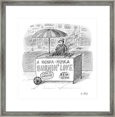 Street Vendor Stands Behind His Cart Framed Print