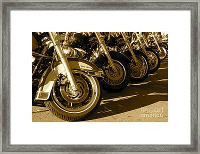 Street Vibrations Sepia Framed Print by Vinnie Oakes