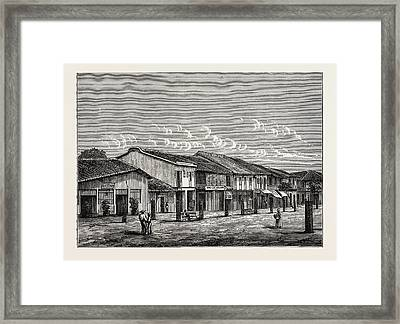 Street View In Saigon Framed Print by English School