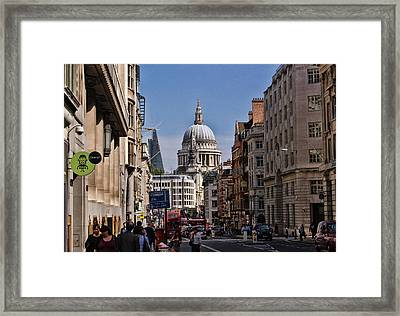 Street View Of St Paul's Cathedral Framed Print by Nicky Jameson