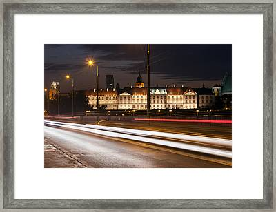Street View Of The Royal Castle At Night In Warsaw Framed Print by Artur Bogacki