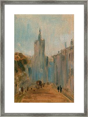Street With Church And Figures, Unknown Artist Framed Print by Litz Collection