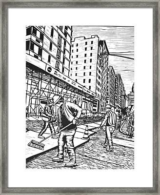 Street Work In New York Framed Print by William Cauthern