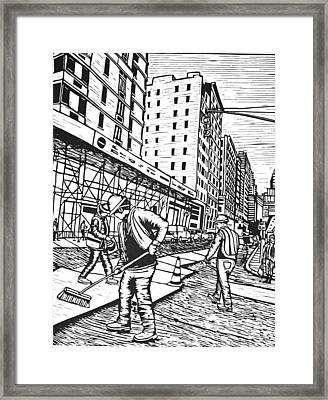 Street Work In New York Framed Print