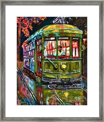 Streetcar Night Framed Print by Lisa Tygier Diamond
