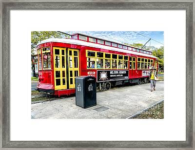 Streetcar On Canal Street Nola Framed Print by Kathleen K Parker