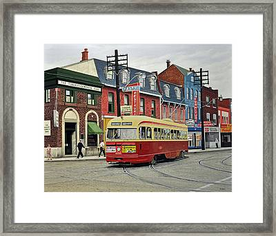 Streetcar On Queen Street 1963 Framed Print by Kenneth M  Kirsch
