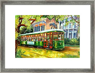 Streetcar On St.charles Avenue Framed Print by Diane Millsap
