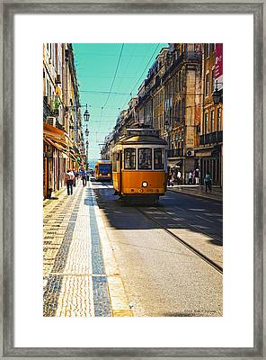 Streetcar - Oporto Framed Print by Mary Machare