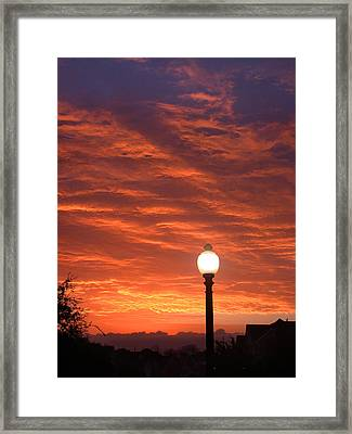 Streetlight Sunset Texas Framed Print by Tony Ramos