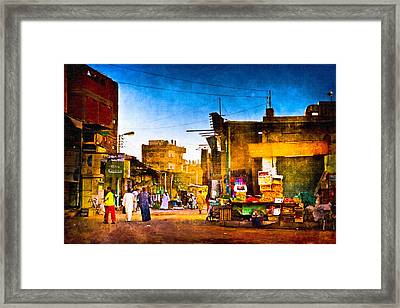 Streets Of An Egyptian Village Framed Print by Mark E Tisdale