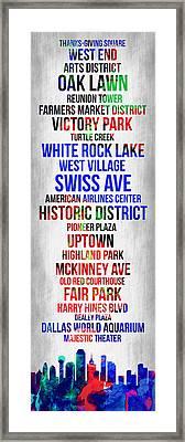 Streets Of Dallas 1 Framed Print by Naxart Studio