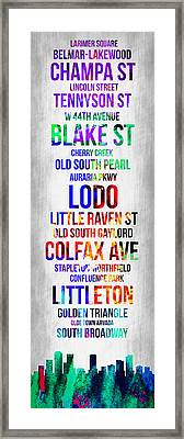 Streets Of Denver 1 Framed Print by Naxart Studio