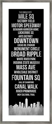 Streets Of Indianapolis 2 Framed Print by Naxart Studio